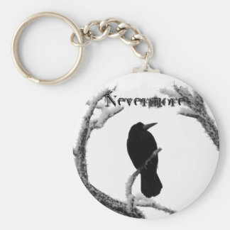 B&W Winter Raven Edgar Allan Poe Nevermore Keychain