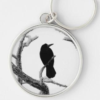 B&W Winter Raven Edgar Allan Poe Silver-Colored Round Keychain