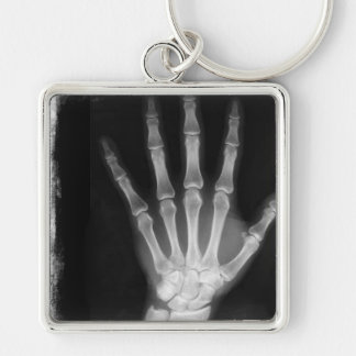 B&W X-ray Skeleton Hand Silver-Colored Square Keychain