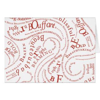 B Words Notecard