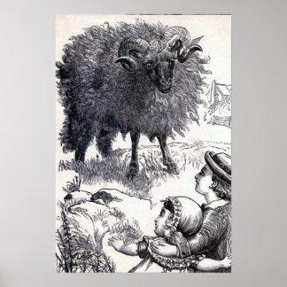 """Baa Baa Black Sheep"" Vintage Illustration Poster"
