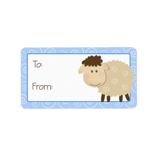 Baa Baa Sheep Blue Swirl Gift Tag Label