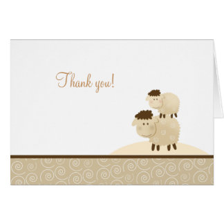 Baa Baa Sheep Neutral Tan Folded Thank you notes