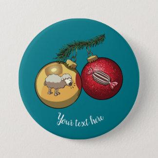 Baa Humbug Baubles Christmas Sheep & Candy Cartoon 3 Inch Round Button