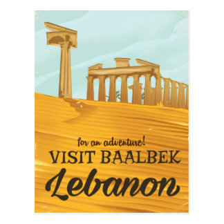 Baalbek Temple Lebanon vintage travel poster Postcard