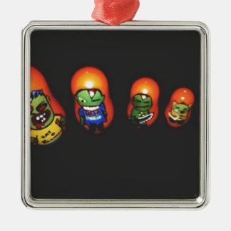 Baba zombie Silver-Colored square ornament