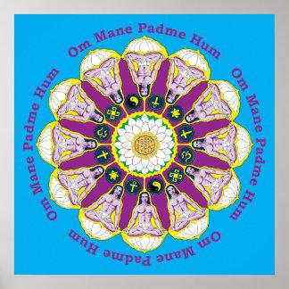 Babaji Poster with Om Mane Padme Hum Mantra