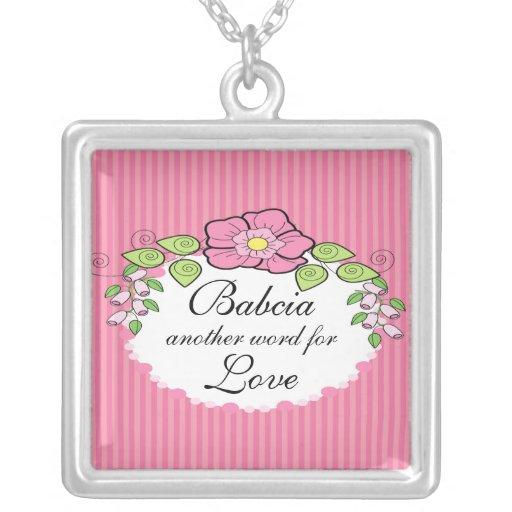 Babcia Love  Grandparent Necklace Floral Frame