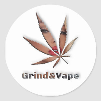 Babe in The Weeds by #GrindAndVape Classic Round Sticker