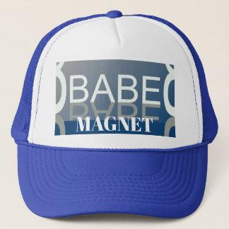BABE MAGNET Fun Trucker Hat -Blue/White/Gray