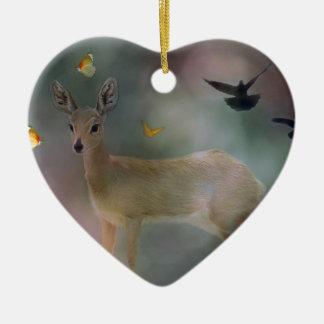 Babies forest fantasy ceramic heart ornament