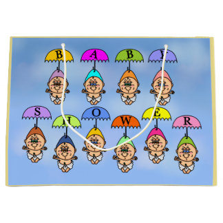 Babies on Umbrellas Baby Shower Gift Bag
