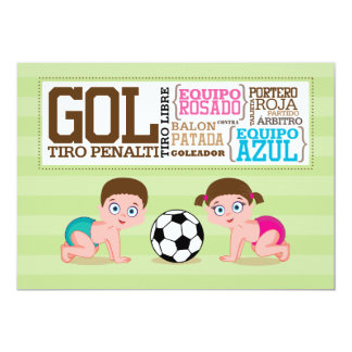 Babies Playing Soccer Gender Reveal Card