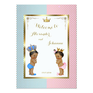 Babies Shower TWINS,pink blue,elegant backgrd 5x7 Card