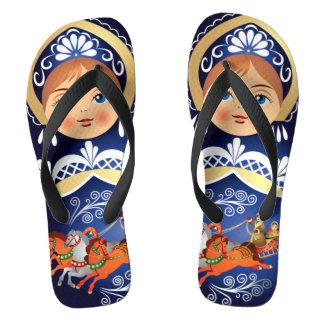 Babushka Matryoshka  Russian Doll Flip Flops