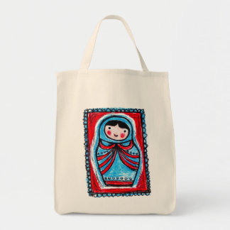 babushka single tote grocery tote bag