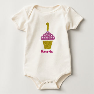 Baby 1ST Birthday with Glitter Cupcake Bodysuit