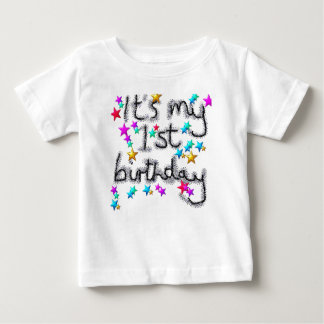 Baby 1st first birthday starry t-shirt