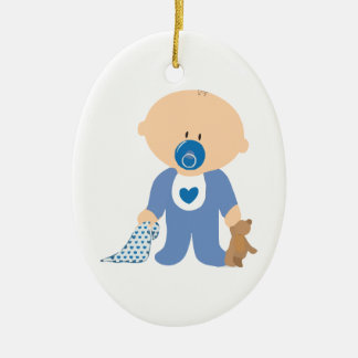 baby-310259  baby boy teddy pacifier blanket blue ceramic oval ornament