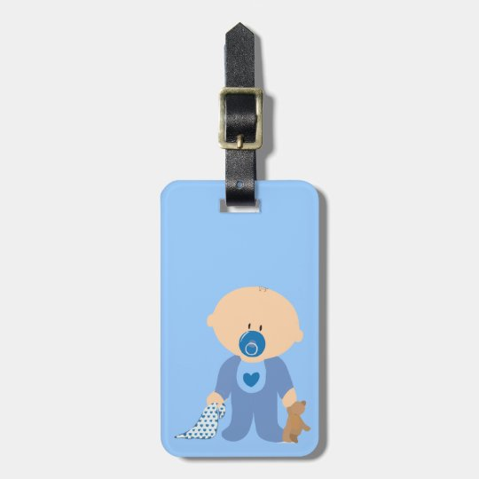 baby-310259  baby boy teddy pacifier blanket blue luggage tag