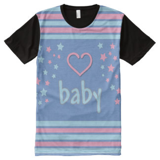 Baby 4 Life all over/Adult Baby tee/ Pink Blue