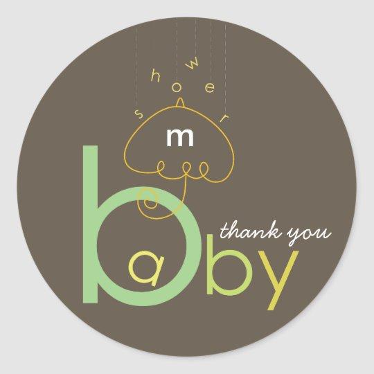"Baby ""a"" in B | Apple Mint Baby Shower Sticker"