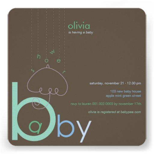 "Baby ""a"" in B Boy Blue Cute Baby Shower Invitation Custom Announcements"