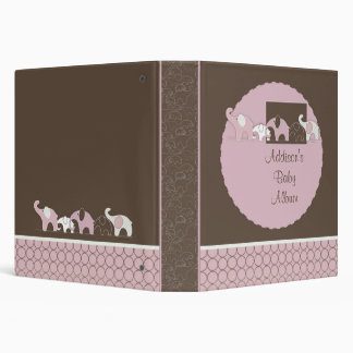 Baby Album with Pink Elephants and Circles Vinyl Binders