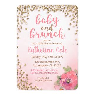 Baby and Brunch Baby Shower Glitter Invitation