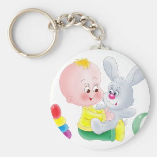Baby and bunny basic round button keychain