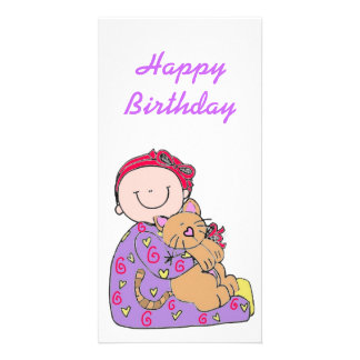 Baby and Cat Happy Birthday Picture Card