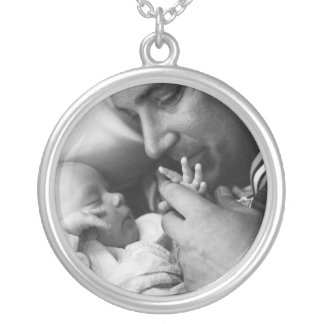 Baby and  Daddy Silver Plated Necklace