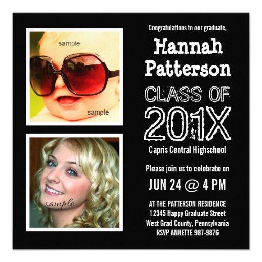 Baby and Grad Photo Graduation Party Custom Invitations