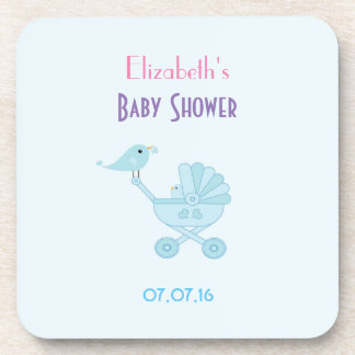 Baby and Mommy Bluebirds Baby Shower Drink Coasters