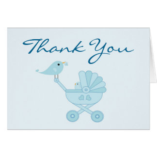 Baby and Mommy Bluebirds Baby Shower Thank You Note Card