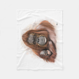 Baby and Mother Orang-utan Fleece Blanket