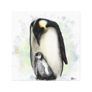 Baby and Parent Penguin Canvas