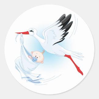 Baby and Stork Round Sticker