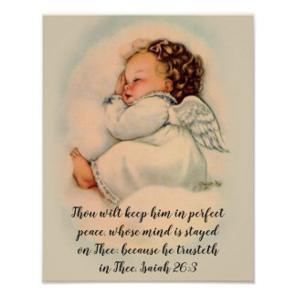 Baby Angel Girl with Scripture Quote Poster