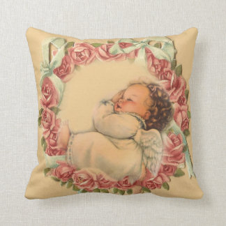 Baby Angel sleeping on rose wreath Throw Pillow