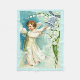 Baby Angel With Blue Bell Fleece Blanket