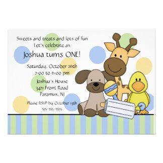 Baby Animals 1st Birthday Party Invitation
