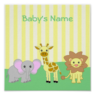 Baby Animals Child's Room Customizable Poster
