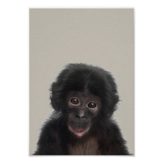 Baby Animals Nursery Poster - Monkey