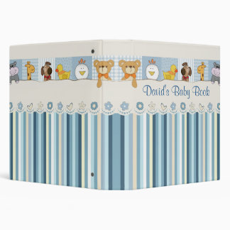 Baby Animals & Stripes Blue Baby Shower 3 Ring Binders