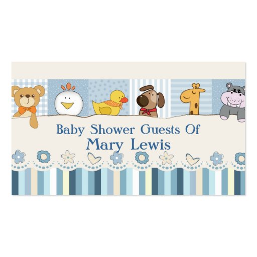 Baby Animals & Stripes Blue Baby Shower Business Card Templates