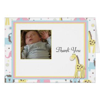 Baby Animals Yellow Giraffe Thank You Card