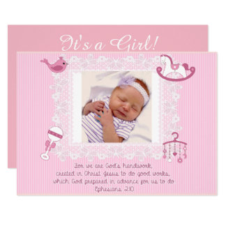 Baby Announcement, Christian Scripture for Girl Card