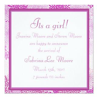 "Baby Announcement (Girl) 5.25"" Square Invitation Card"