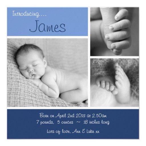 Baby Announcement Minimalist Photo Collage - Blue